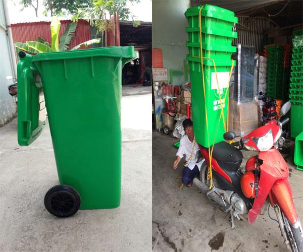 thùng rác 2 bánh xe 120 lít màu xanh