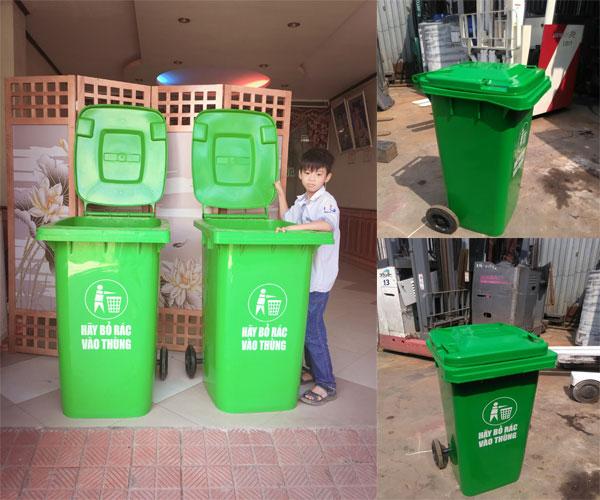 thùng rác công cộng 240l (240 lít) màu xanh