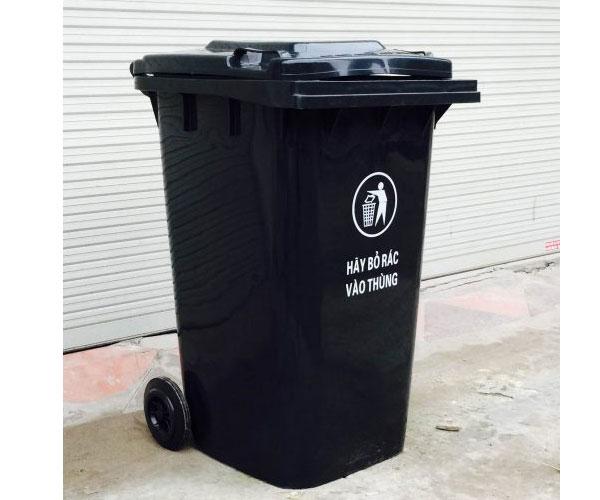 thùng rác công nghiệp 240 lít màu đen