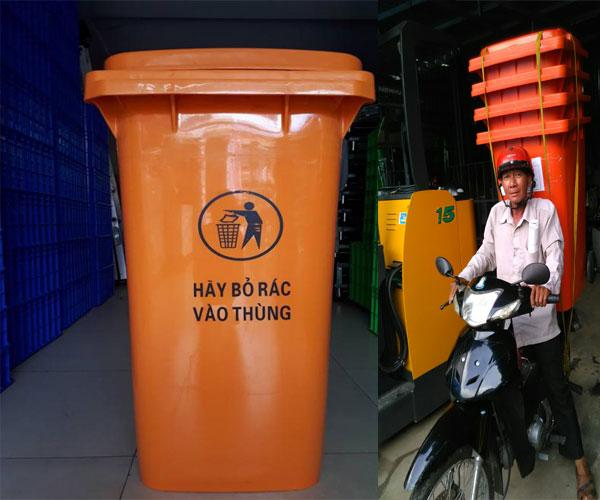 thùng rác ngoài trời 120l màu cam