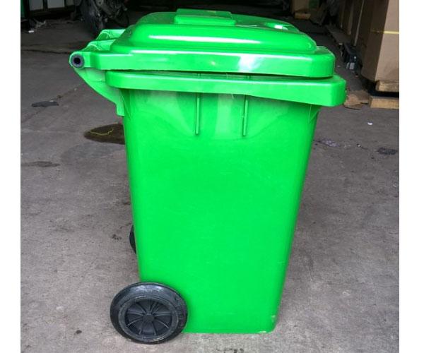 thùng rác nhựa có nắp 80 lít màu xanh