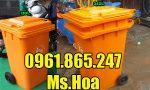 Thùng rác công cộng màu cam