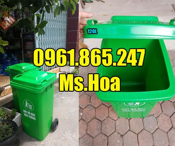 Thùng rác nhựa 120 lít màu xanh