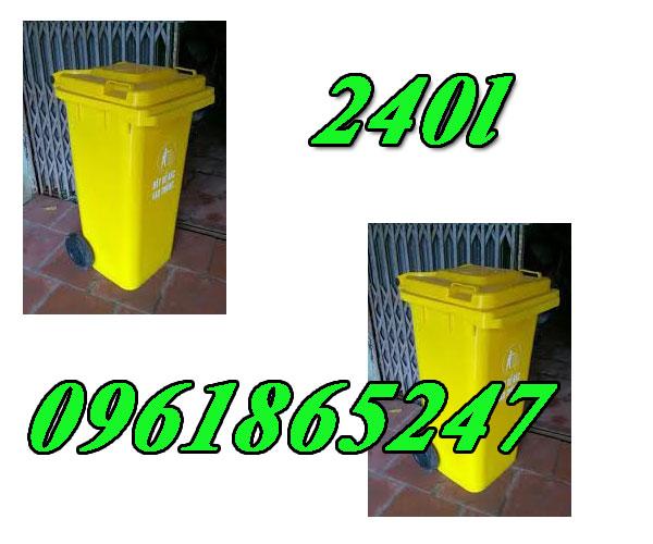 thùng rác 240l màu vàng