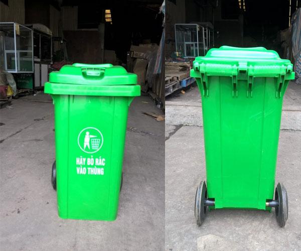 thùng rác 100 lít màu xanh