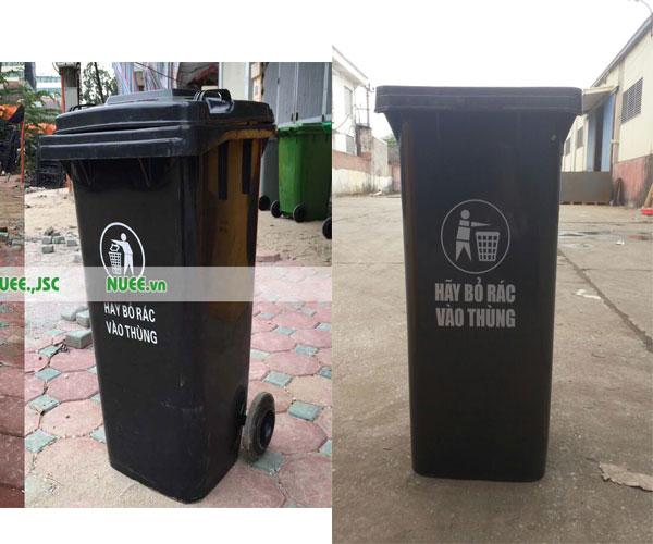 thùng rác có nắp 120l màu đen