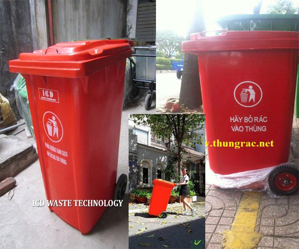 thùng rác nhập khẩu 120 lít màu đỏ