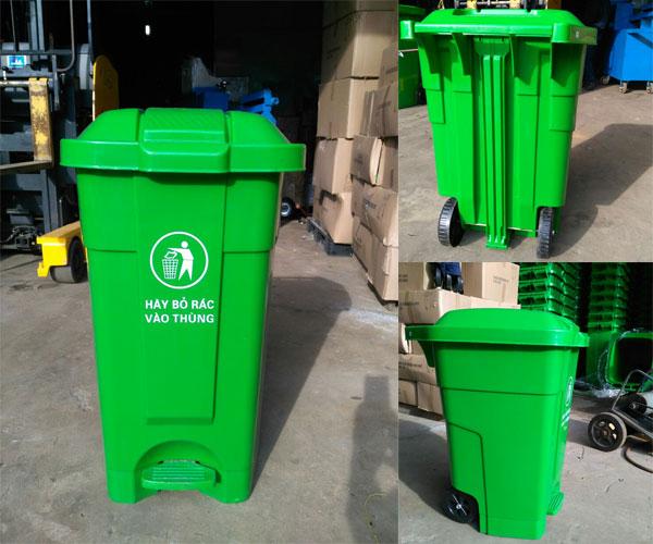 thùng rác nhựa đạp chân 70 lít màu xanh