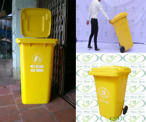 thùng rác nhựa hpde 120 lít màu vàng